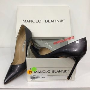 Manolo Blahnik Patent Pewter Shoes
